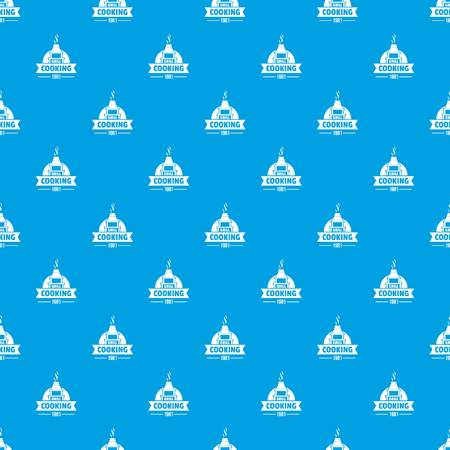 Grill cooking pattern vector seamless blue