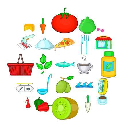 Food for training icons set. Cartoon set of 25 food for training vector icons for web isolated on white background