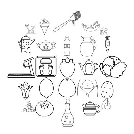 Diet food icons set. Outline set of 25 diet food vector icons for web isolated on white background Illustration