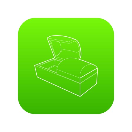 Opened coffin icon green vector Stock Illustratie