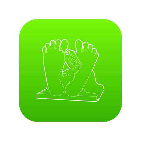 Dead body icon green vector