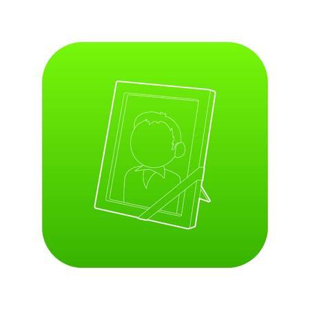 Memory portrait icon green vector Illustration