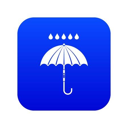 Umbrella and rain drops icon digital blue for any design isolated on white vector illustration Stock Illustratie