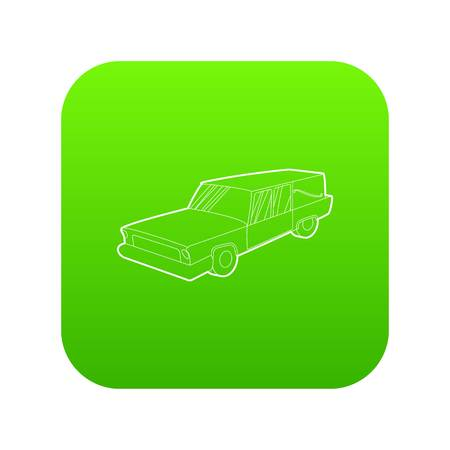 Hearse icon green vector