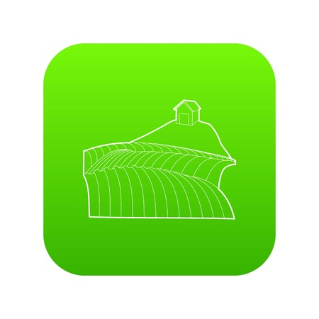 French field icon green vector Illustration