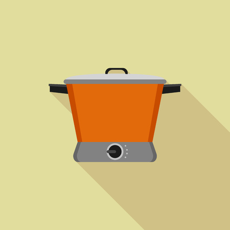 Orange slow cooker icon, flat style Stock Illustratie