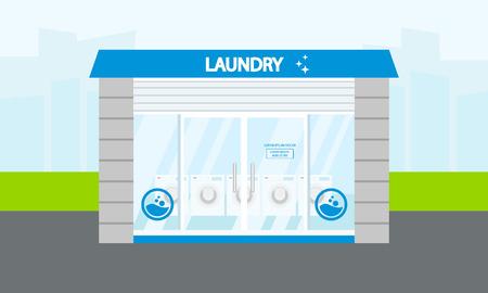 Street laundry building concept banner. Flat illustration of street laundry building vector concept banner for web design