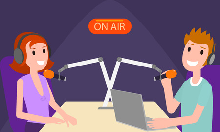 Discussion in radio studio on air concept banner. Flat illustration of discussion in radio studio on air vector concept banner for web design Çizim