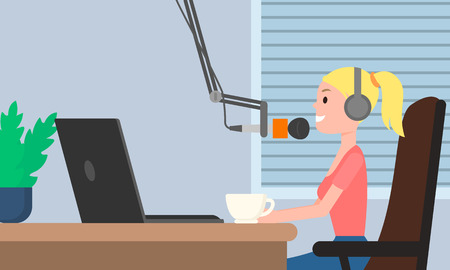 Girl radio dj live concept banner. Flat illustration of girl radio dj live vector concept banner for web design Vettoriali