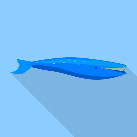 Blue whale icon, flat style Vettoriali