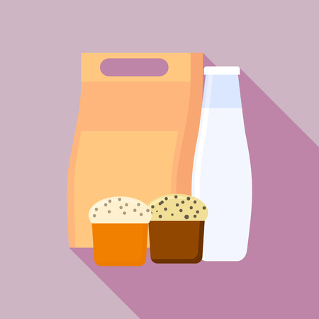 Milk bottle lunchbox icon, flat style Illustration
