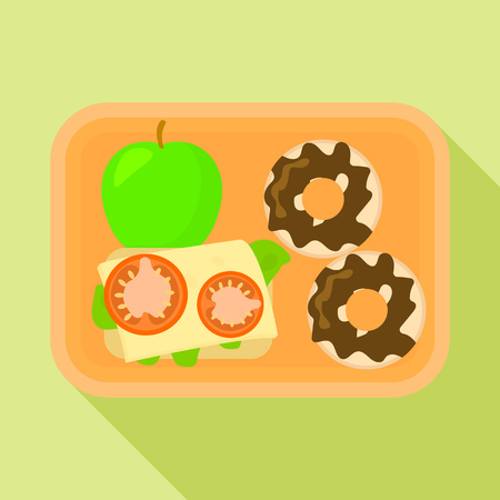 School lunch time icon. Flat illustration of school lunch time vector icon for web design