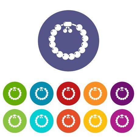 Les icônes de bracelet de pierres précieuses de charme définissent la couleur du vecteur