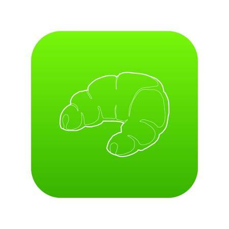 Croissant icon green vector Ilustração