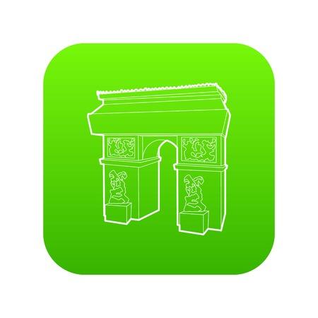 Triumphal arch icon green vector
