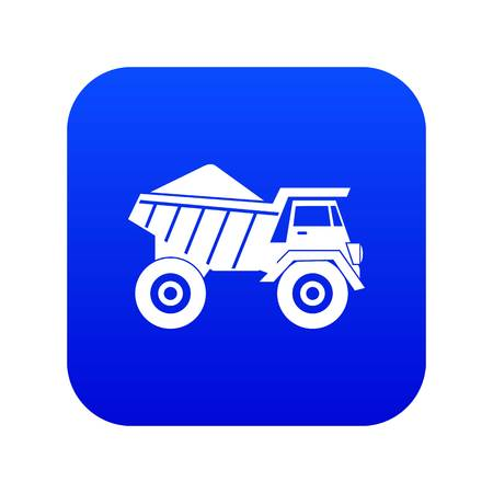 Dump truck with sand icon digital blue for any design isolated on white vector illustration
