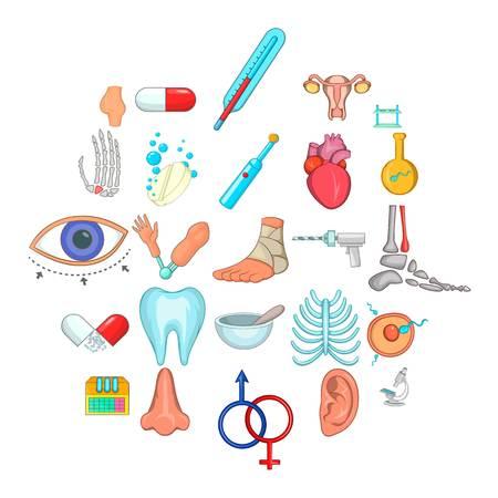 Sickness icons set, cartoon style Illustration