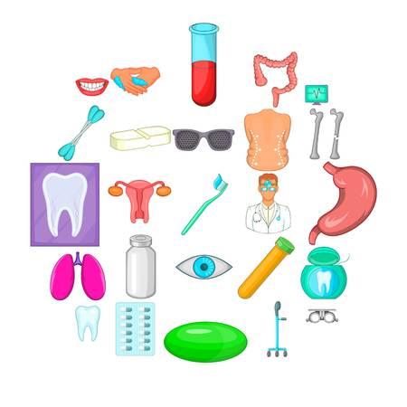 Malady icons set. Cartoon set of 25 malady vector icons for web isolated on white background Illustration