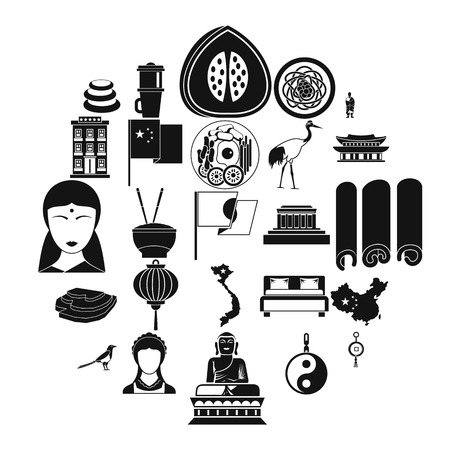 Oriental icons set, simple style Vettoriali
