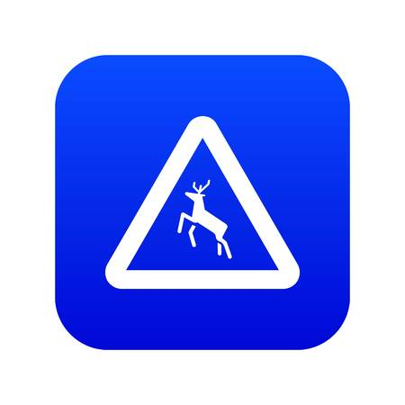 Deer traffic warning sign icon digital blue Ilustracja