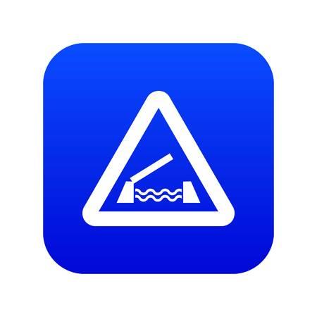 Lifting bridge warning sign icon digital blue
