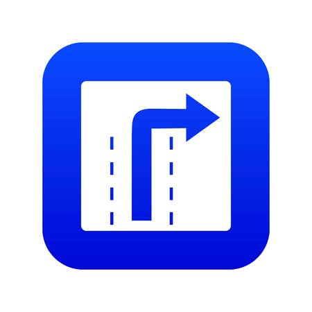 Turn right traffic sign icon digital blue for any design isolated on white vector illustration