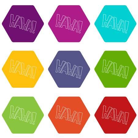 Word Haha icons set 9 vector