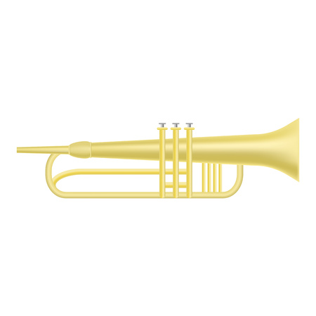 Gold trumpet icon, realistic style Stock Illustratie