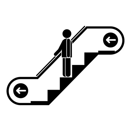 Man escalator move down icon. Simple illustration of man escalator move down vector icon for web design isolated on white background Ilustração