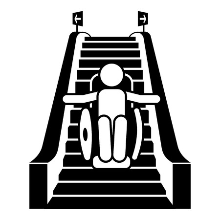 Man in wheelchair on escalator icon. Simple illustration of man in wheelchair on escalator vector icon for web design isolated on white background Ilustração