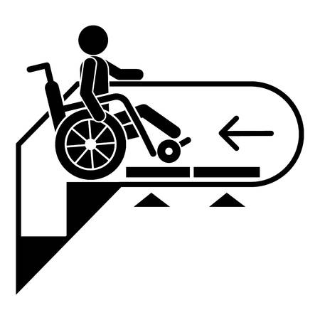 Man wheelchair down escalator icon. Simple illustration of man wheelchair down escalator vector icon for web design isolated on white background
