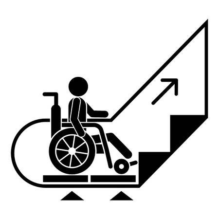 Man wheelchair up escalator icon. Simple illustration of man wheelchair up escalator vector icon for web design isolated on white background