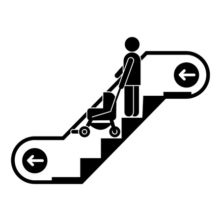 Woman escalator pram down icon. Simple illustration of woman escalator pram down vector icon for web design isolated on white background