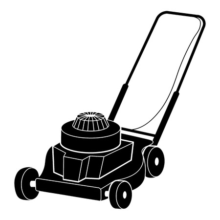 Petrol lawn mower icon. Simple illustration of petrol lawn mower vector icon for web design isolated on white background