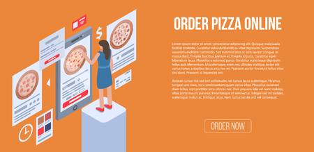 Order pizza online banner, isometric style Çizim