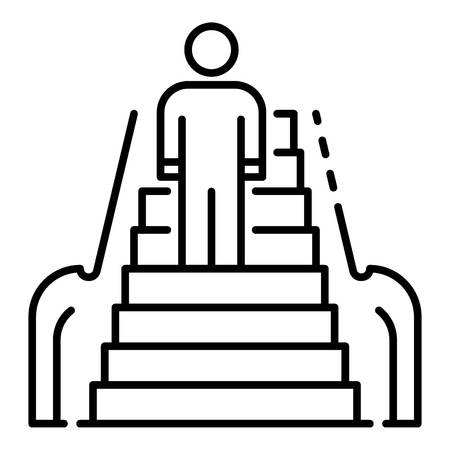 Front man escalator icon. Outline front man escalator vector icon for web design isolated on white background