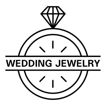 Wedding jewelry logo, outline style Logo