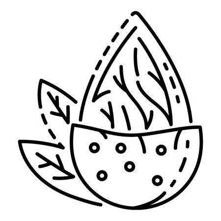 Icône de noix d'amande, style de contour Vecteurs