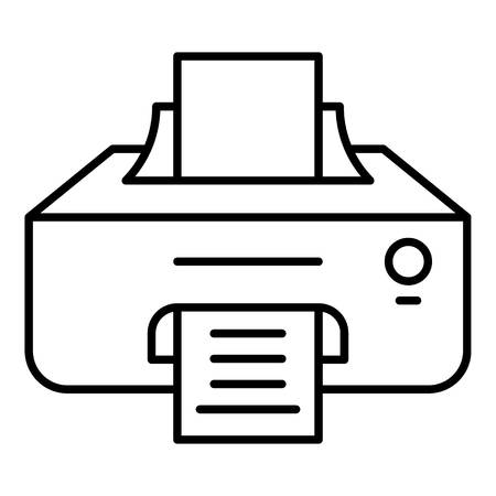 Ink printer icon. Outline ink printer vector icon for web design isolated on white background