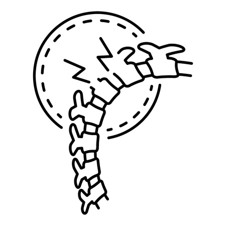 Cracked spine icon, outline style 向量圖像