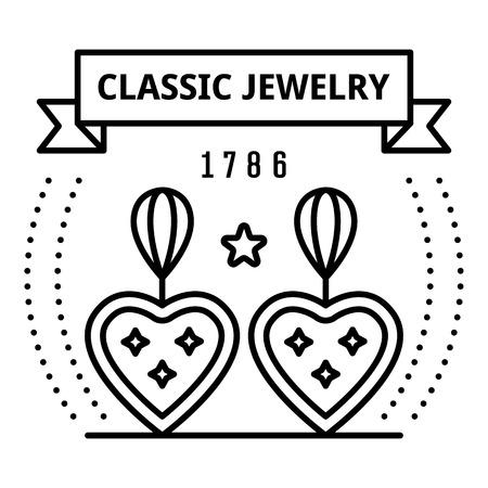 Classic jewelry logo, outline style Ilustração