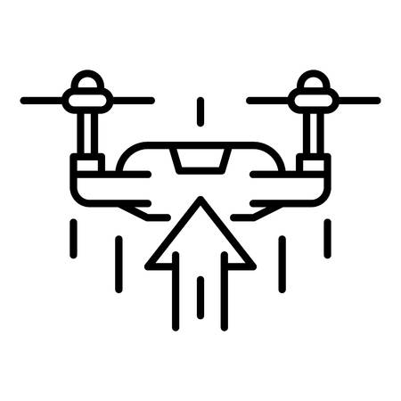 Drone rise up icon. Outline drone rise up vector icon for web design isolated on white background Ilustração