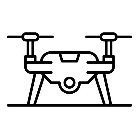 Drone on ground icon, outline style