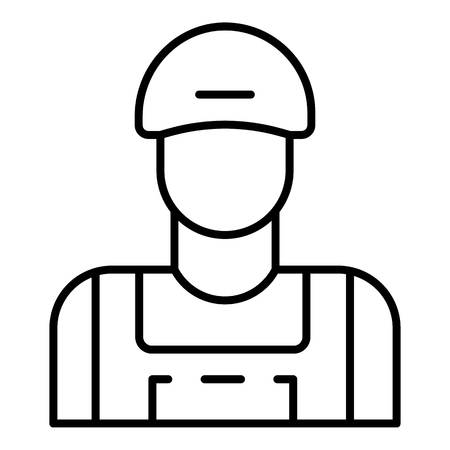 Man face petrol station icon. Outline man face petrol station vector icon for web design isolated on white background Illustration