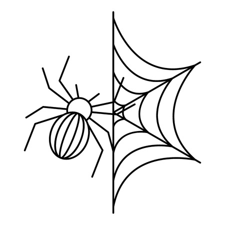 Spider on web icon. Outline spider on web vector icon for web design isolated on white background