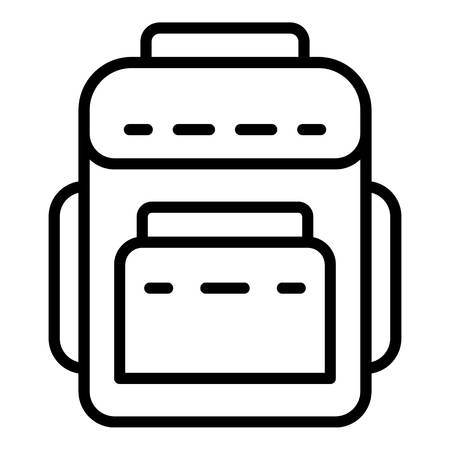 Ikona plecak tekstylny. Zarys tekstylny plecak wektor ikona do projektowania stron internetowych na białym tle Ilustracje wektorowe