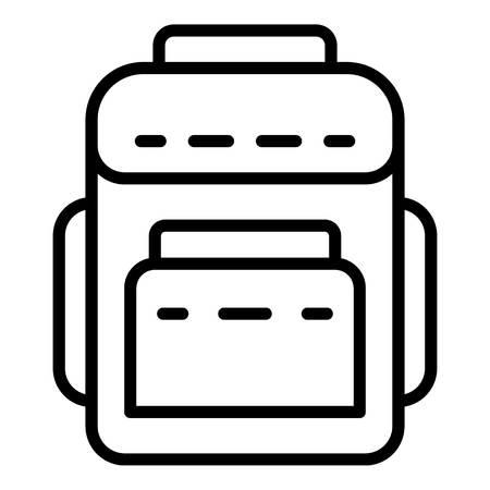 Symbol für Textilrucksäcke. Umreißen Sie das Textilrucksack-Vektorsymbol für das Webdesign, das auf weißem Hintergrund lokalisiert wird Vektorgrafik