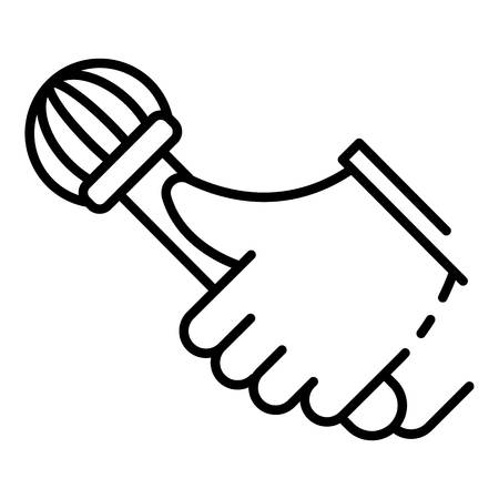 Rap microphone icon, outline style