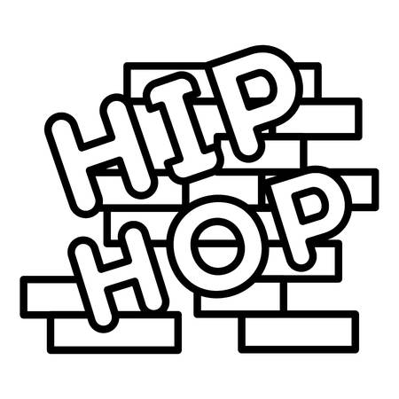 Hip hop on brick wall icon, outline style