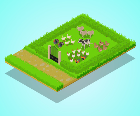 Livestock concept banner. Isometric banner of livestock vector concept for web, giftcard and postcard  イラスト・ベクター素材